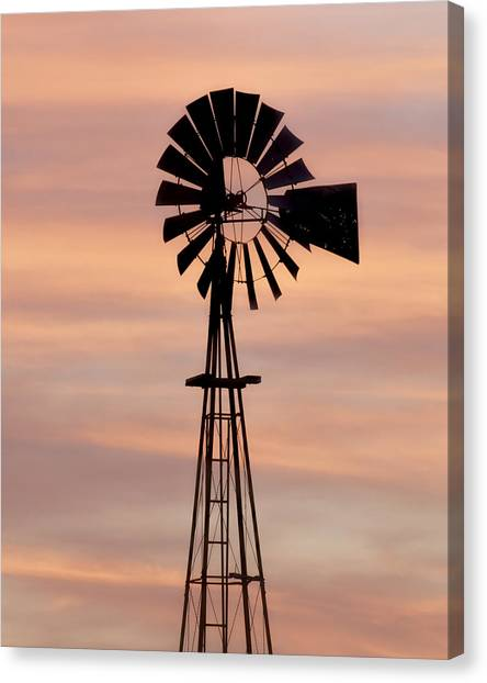 Sunset And Windmill 06 Canvas Print