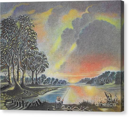 Sunset Angler Canvas Print