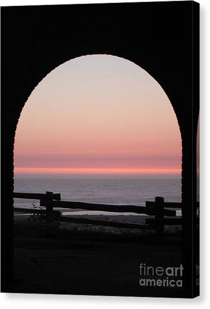 Sunset Arch With Fog Bank Canvas Print