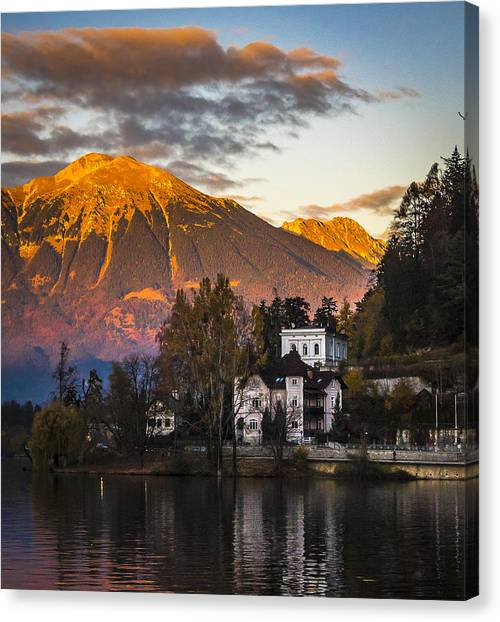 Sunset At Bled Canvas Print