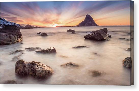 Sunset At Bleik Canvas Print