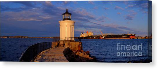 Sunset At Bug Light Lighthouse 2 Canvas Print