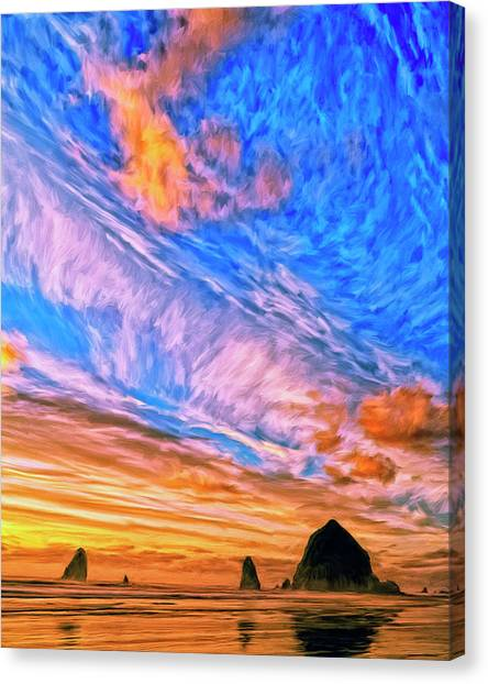 Sunset At Cannon Beach Canvas Print