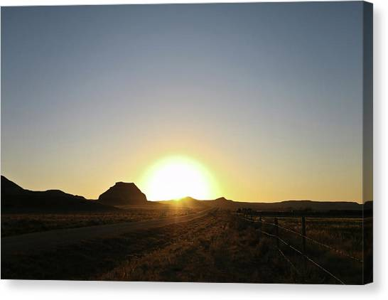 Sunset At Castle Butte Sk Canvas Print