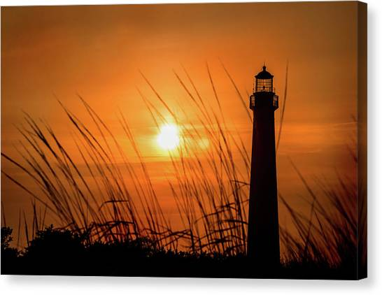 Sunset At Cm Lighthouse Canvas Print