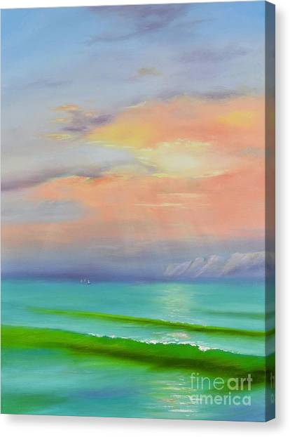 Canvas Print featuring the painting Sunset At Dana Point  by Mary Scott