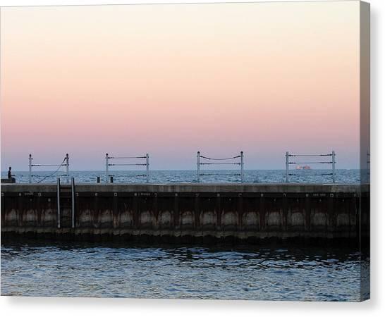 Sunset At Diversey Harbor Canvas Print
