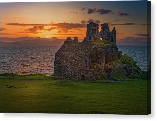 Sunset At Dunure Castle Canvas Print