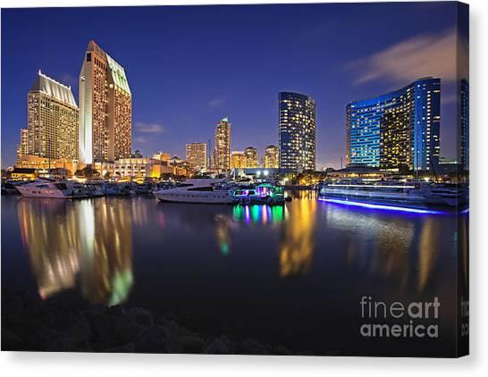 Sunset At Embarcadero Marina Park In San Diego Canvas Print