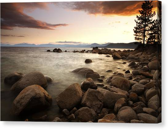 Sunset At Hidden Beach Canvas Print