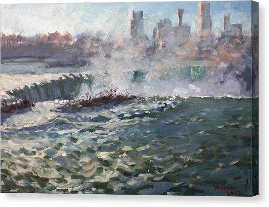 Horseshoe Falls Canvas Print - Sunset At Horseshoe Falls by Ylli Haruni