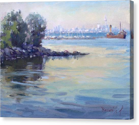 City Landscape Canvas Print - Sunset At Lake Ontario  by Ylli Haruni