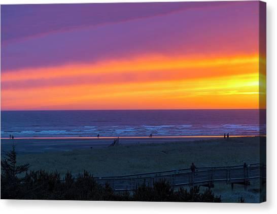 Canvas Print - Sunset At Long Beach Washington by David Gn