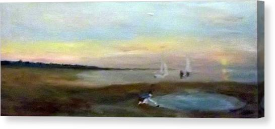 Sunset At Margate With Boats And A Boy With A Toy Boat Canvas Print