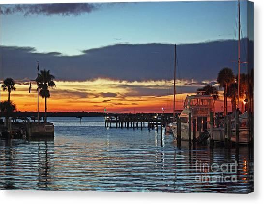 Sunset At Marina Plaza Dunedin Florida Canvas Print