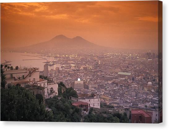 Mount Vesuvius Canvas Print - Sunset At Mount Vesuvius With Naples by Richard Nowitz