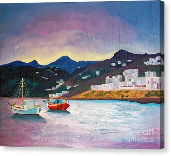 Sunset At Mykonos Canvas Print
