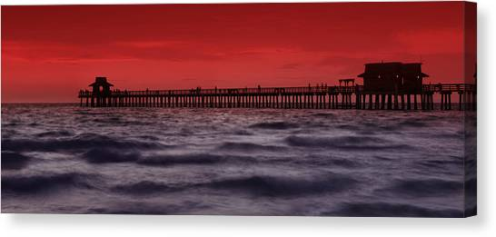 Florida House Canvas Print - Sunset At Naples Pier by Melanie Viola