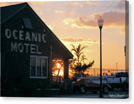 Sunset At Oceanic Motel Canvas Print