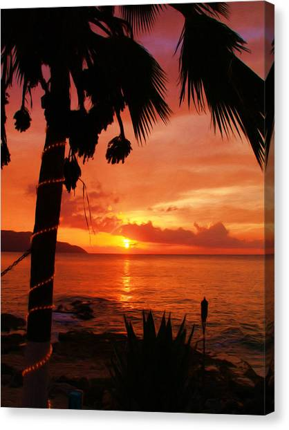 Sunset At Off The Wall Canvas Print by Linda Morland