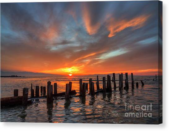 Canvas Print featuring the photograph Sunset At Old Saltair Piers by Spencer Baugh