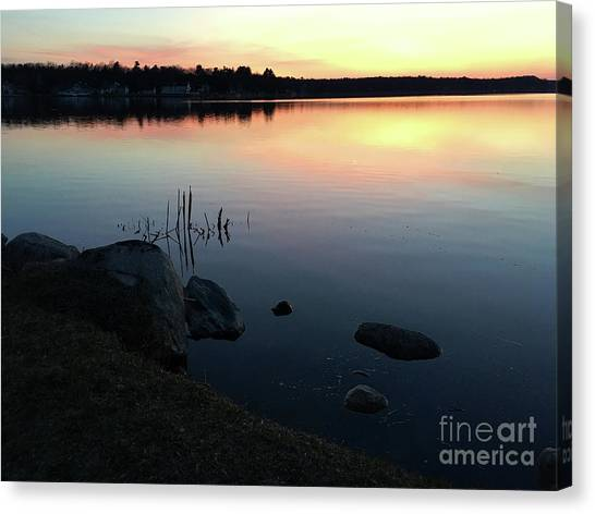 Sunset At Pentwater Lake Canvas Print