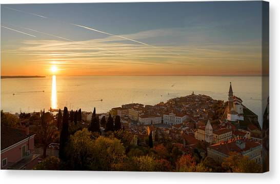 Sunset At Piran Canvas Print