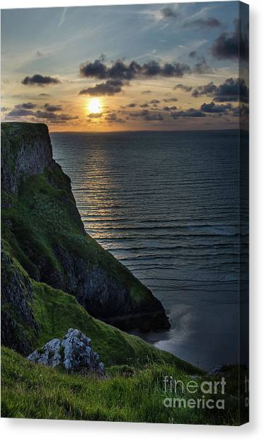 Sunset At Rhossili Bay Canvas Print