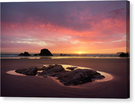 Sunset At Ruby Beach Canvas Print