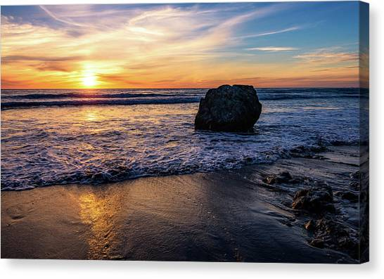 Sunset At San Simeon Beach Canvas Print