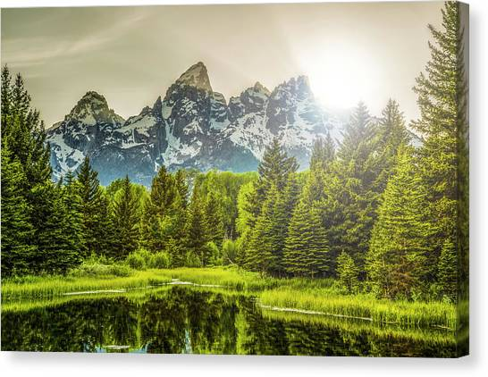 Mountain West Canvas Print - Sunset At Schwabacher by Peter Irwindale