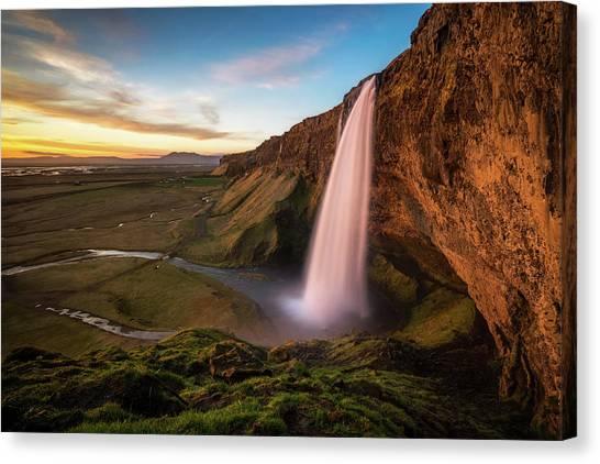 Seljalandsfoss Canvas Print - Sunset At Seljalandsfoss by James Udall