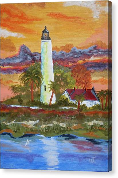 Sunset At St. Mark's Lighthouse Canvas Print by Warren Thompson