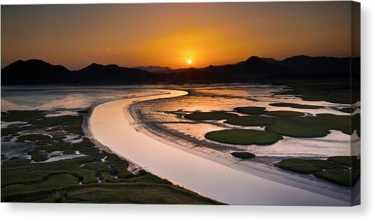 Sunset At Suncheon Bay Canvas Print