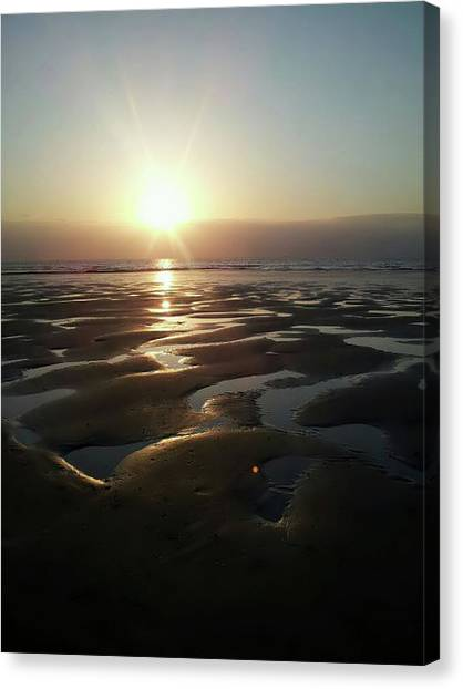 Ocean Of Emptiness Canvas Print - Sunset At The Beach by Anna Covic