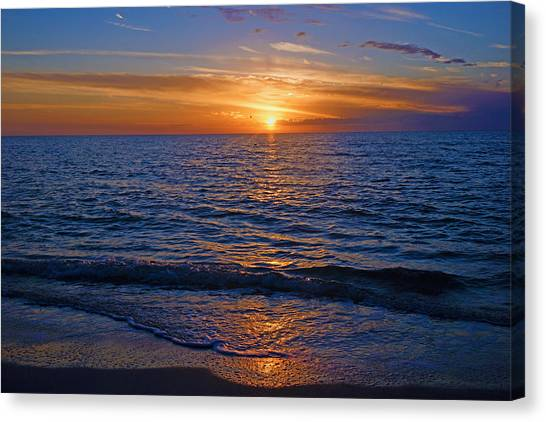 Sunset At The Beach In Naples, Fl Canvas Print