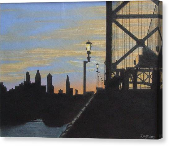 Philidelphia Canvas Print - Sunset At The Ben Franklin Bridge by Harvey Rogosin