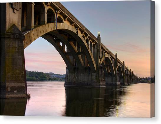 Sunset At The Columbia - Wrightsville Bridge Canvas Print