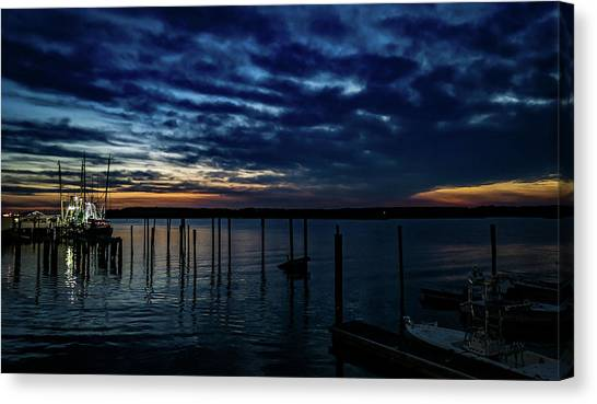 Sunset At The Dock Canvas Print