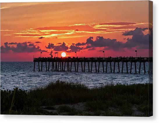 Southwest Florida Sunset Canvas Print - Sunset At The Fishing Pier   -   Fishingpier121662 by Frank J Benz