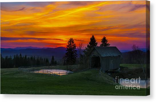 Sunset At The Foster Covered Bridge. Canvas Print