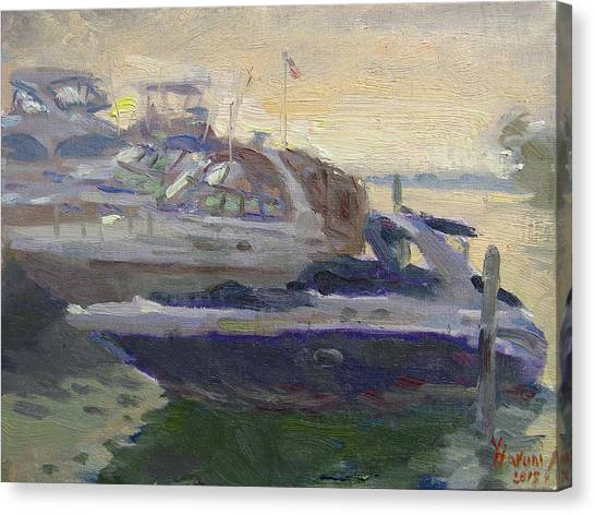 Yacht Canvas Print - Sunset At The Harbor by Ylli Haruni