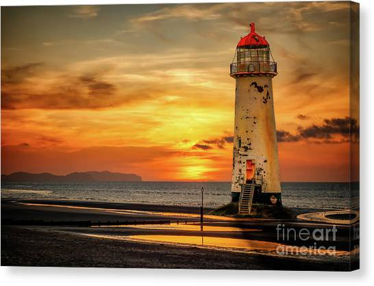 Wind Farms Canvas Print - Sunset At The Lighthouse by Adrian Evans