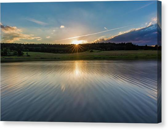 Sunset At The Mandelholz Dam, Harz Canvas Print