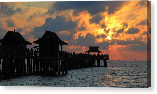 Sunset At The Naples Pier Canvas Print