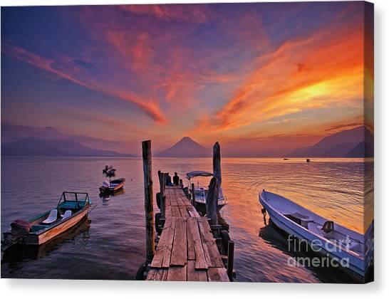 Sunset At The Panajachel Pier On Lake Atitlan, Guatemala Canvas Print