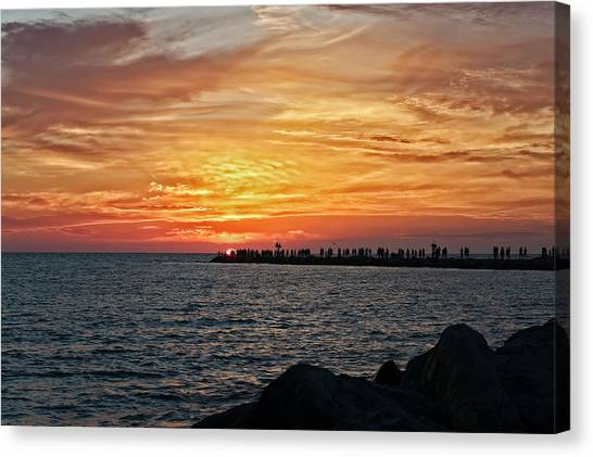 Southwest Florida Sunset Canvas Print - Sunset At The South Jetty  -  12southjetty0839 by Frank J Benz