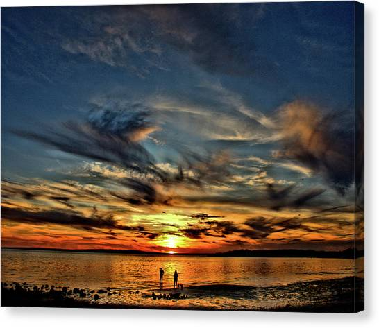 Sunset At The Waters Edge Canvas Print