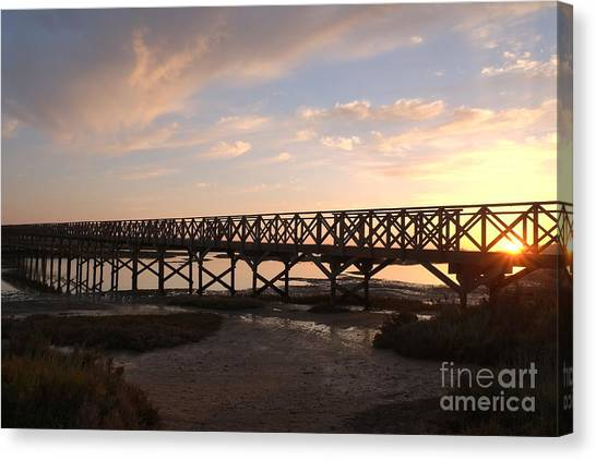 Sunset At The Wooden Bridge Canvas Print