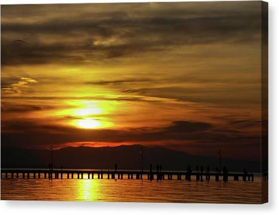 Sunset At Thessaloniki Canvas Print